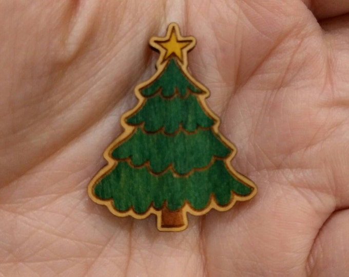 Christmas Tree Brooch, Xmas Illustration, Wood Jewelry, Christmas Brooch