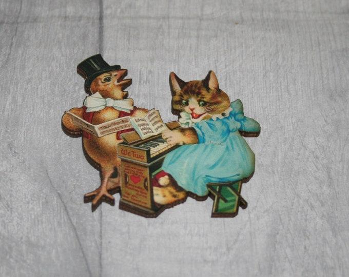 Kitten and Bird Brooch, Wooden Cat Badge, Animal Brooch, Wood Jewelry, Kitten Pin