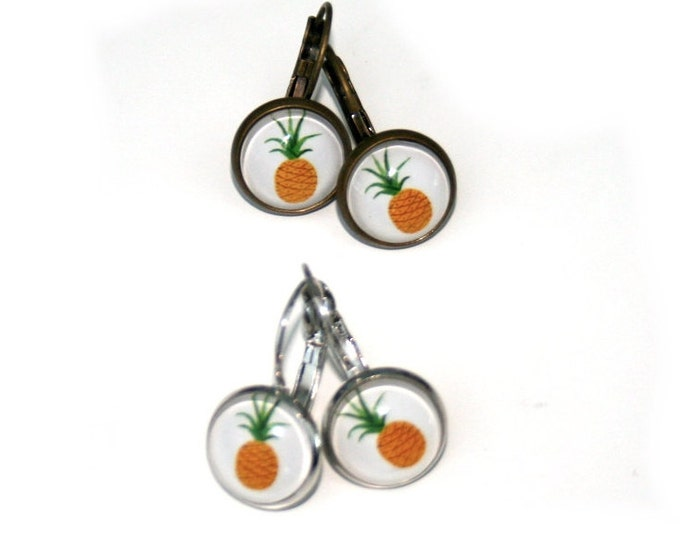 Pineapple Earrings, Fruit Illustration, Dangle Earrings