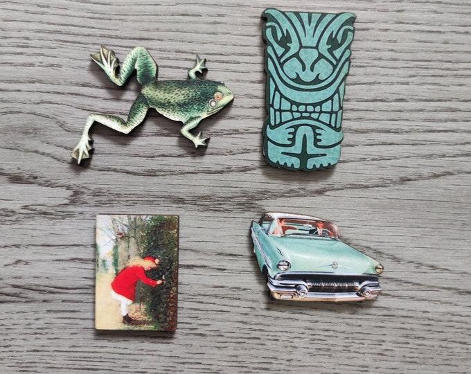 4 x Wooden Brooches - Frog, Secret Garden, Car