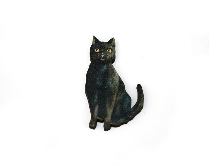 Halloween Brooch, Black Cat Brooch, Black Cat Badge, Halloween Badge, Wood Jewelry, Animal Brooch
