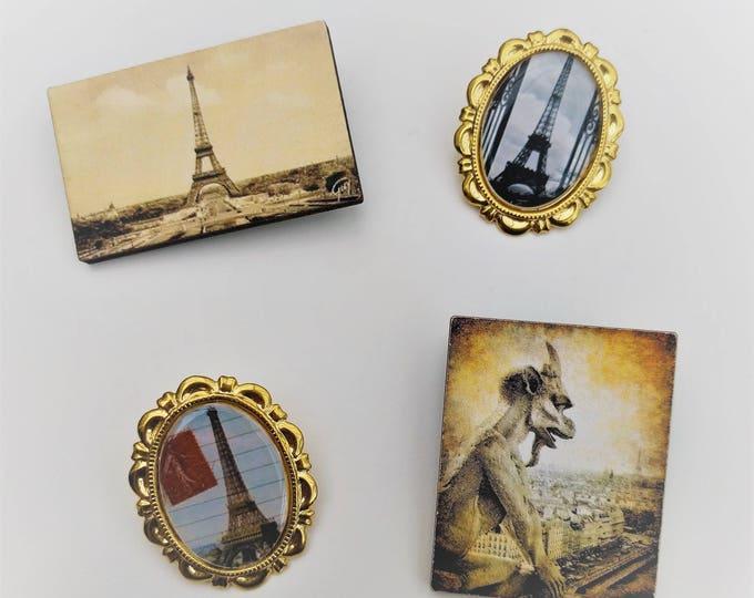 4 x Brooches - Paris, Eiffel Tower (SET T)