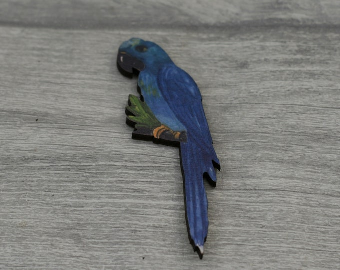 Blue Parrot Brooch, Wooden Bird Brooch, Bird Illustration, Animal Brooch, Wood Jewelry