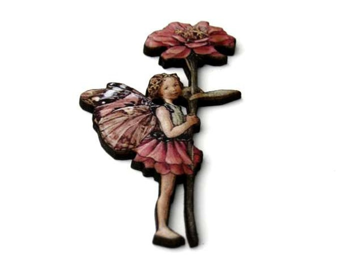 Pink Fairy Brooch, Faerie Illustration Brooch, Pixie Jewelry, Wood Brooch