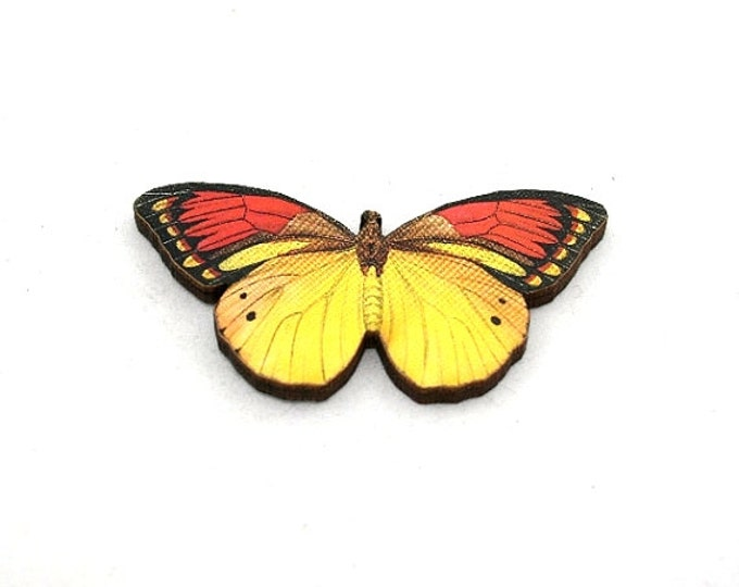 Butterfly Brooch, Yellow Butterfly, Red Butterfly, Badge, Illustration Jewelry, Animal Brooch, Woodland, Wood Jewelry