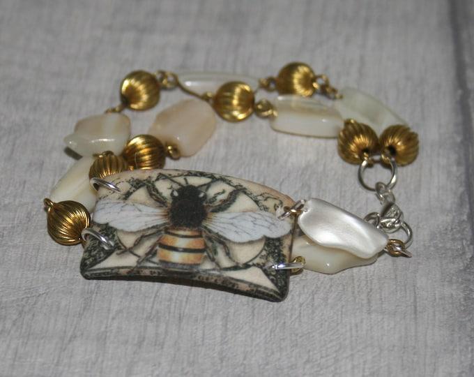 Bee Bracelet, Bumble Bee Bracelet, Honeybee Bar Bracelet