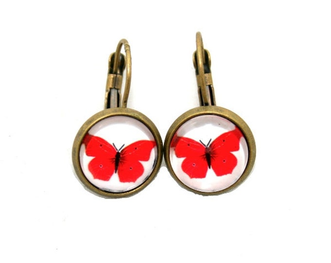 Red Butterfly Earrings, Insect Illustration, Dangle Earrings