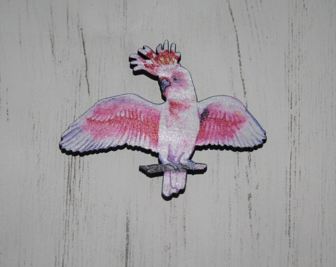 Pink Bird Brooch, Wooden Bird Brooch, Bird Illustration, Animal Brooch, Wood Jewelry