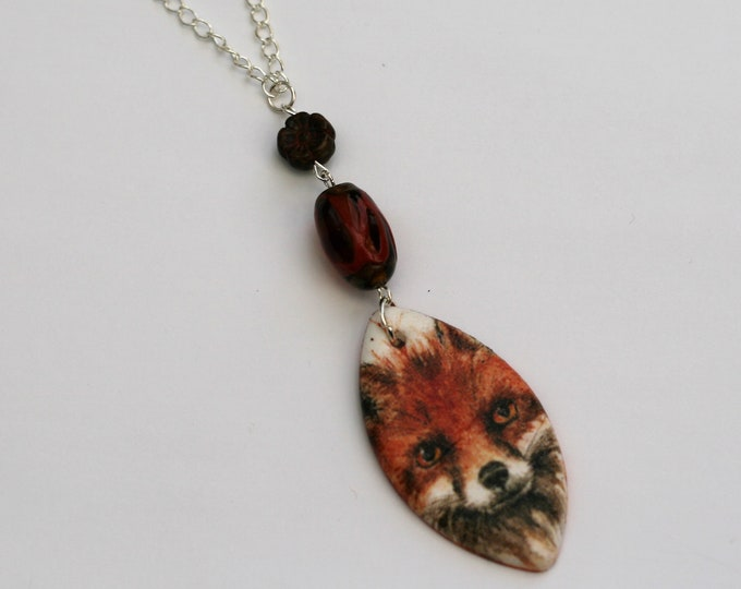 Large Fox Statement Necklace, Red Fox Pendant, Woodland, Animal Necklace