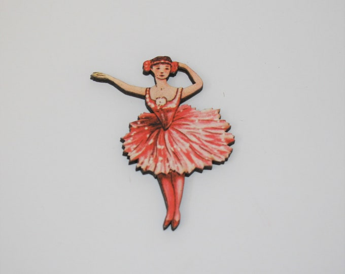 Pink Ballerina Brooch, Wood Accessory, Dancer Illustration, Ballerina Badge, Wood Jewelry