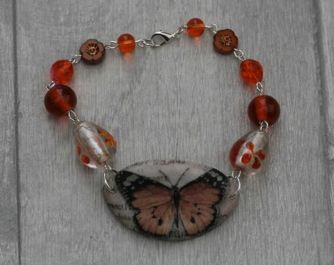 Orange Butterfly Bracelet, Butterfly Bracelet, Butterfly Bar Bracelet