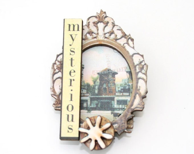 Windmill Brooch, Cameo Badge, Altered Art Jewelry, Mixed Media, Wood Jewelry