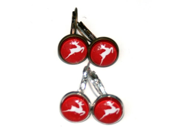 Red Reindeer Earrings, Deer Illustration Dangle Earrings