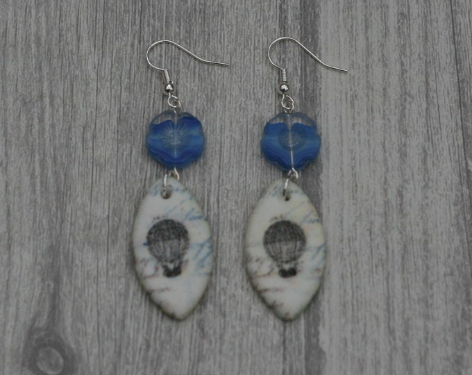 Blue Hot Air Balloon Statement Earrings,