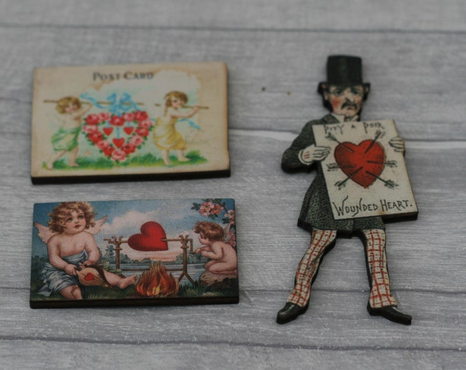 3 x Wooden Valentines Brooches // Love, Cupid, Valentine's Gift, Love Letter
