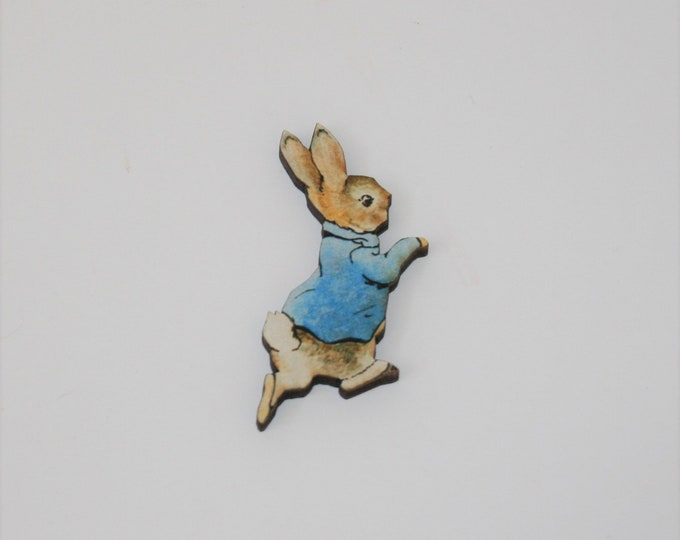 Peter Rabbit Brooch, Beatrix Potter Illustration, Wood Jewelry, Animal Brooch, Woodland