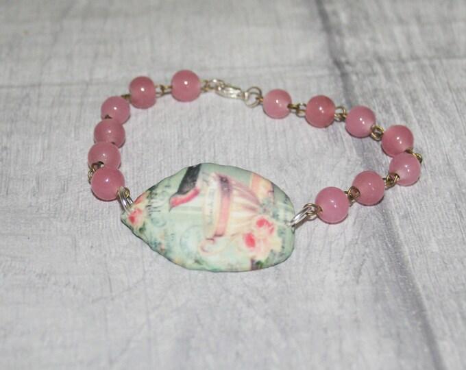 Pink Bird & Teacup Bracelet, Bird Bracelet, Bird Bar Bracelet