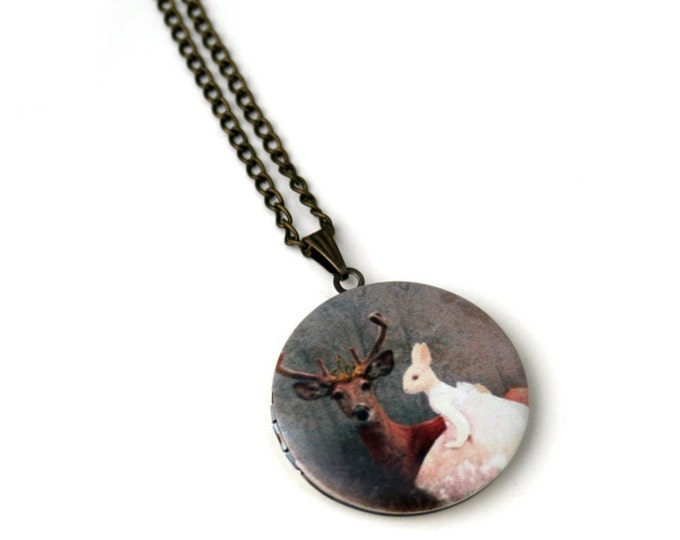 Deer Locket Necklace, Fawn Necklace, Woodland Jewelry