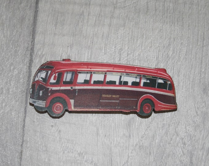 Vintage Red Bus Brooch, Wooden Coach Brooch, Bus Badge, Wood Jewelry