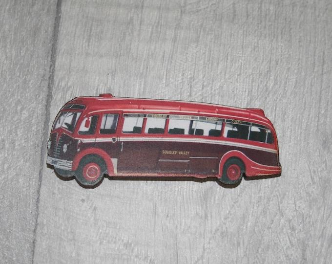 Vintage Red Bus Brooch, Wooden Coach Brooch, Bus Badge, Wood Jewelry
