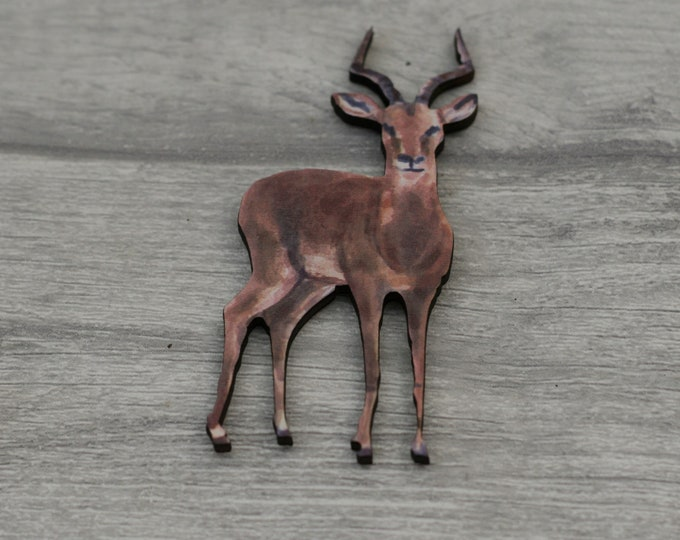 Fawn Brooch, Deer Badge, Woodland Illustration, Wood Jewelry, Animal Brooch