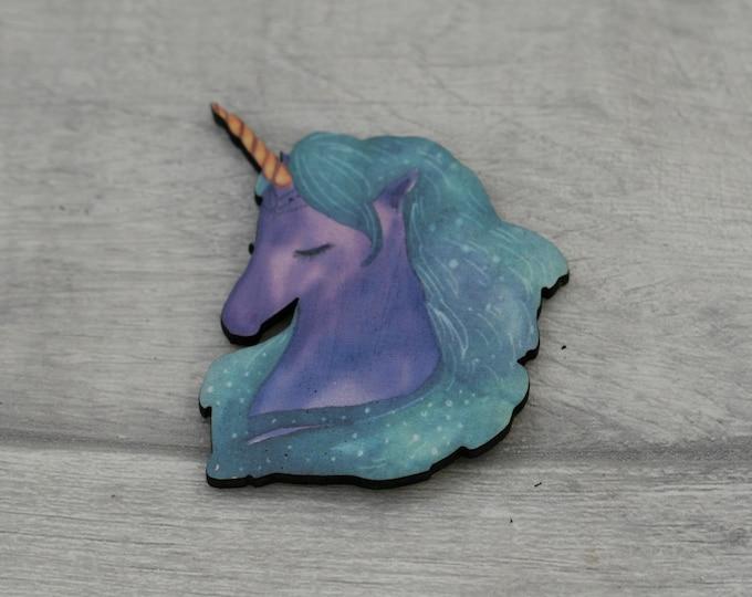 Unicorn Brooch, Wooden Unicorn Badge / Pin, Unicorn Illustration