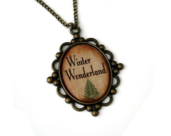 Winter Wonderland, Christmas Song Cameo Necklace, Xmas Illustration, Stocking Stuffer