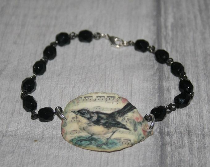 Black Bird Bracelet, Bird Bracelet, Bird Bar Bracelet