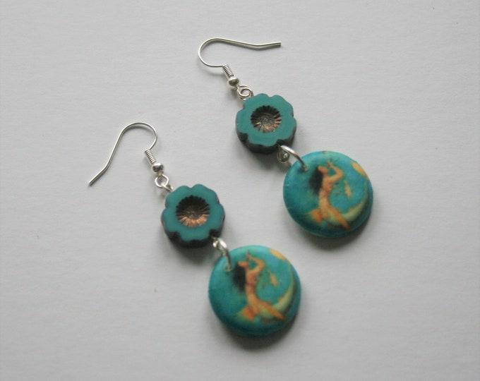 Mermaid Earrings, Blue Statement Dangle Earrings
