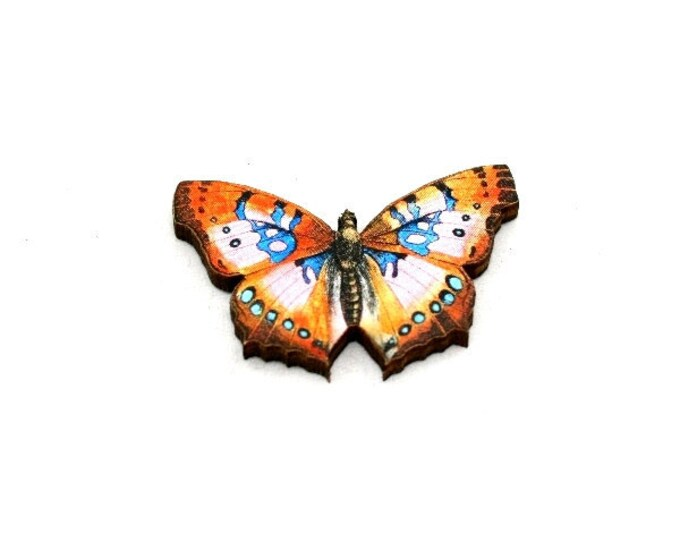 Orange Butterfly Brooch, Wooden Butterfly Accessory, Butterfly Illustration, Butterfly Badge, Animal Brooch, Woodland, Wood Jewelry