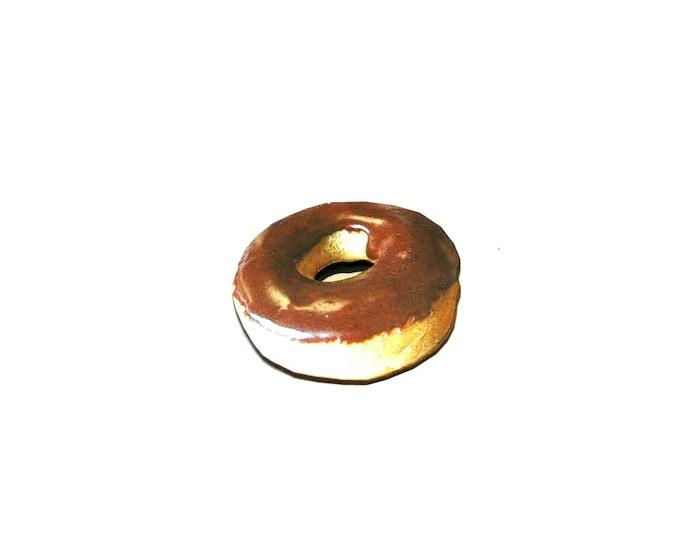Donut Brooch, Wooden Doughnut Accessory, Chocolate Glazed Donut Illustration, Wood Jewelry