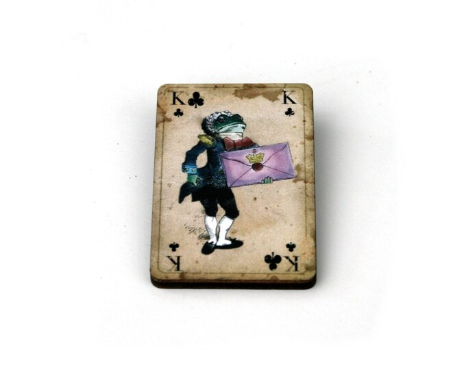 Frog Footman Brooch, Alice in Wonderland Brooch, Tenniel Illustration, Wood Jewelry