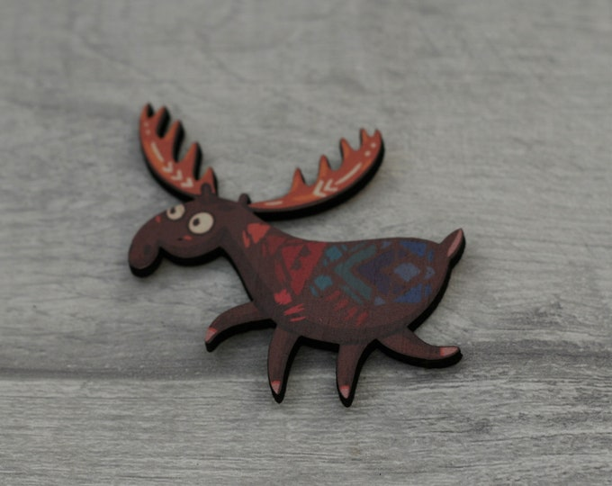 Moose Brooch, Woodland Elk Illustration, Wood Jewelry, Animal Brooch