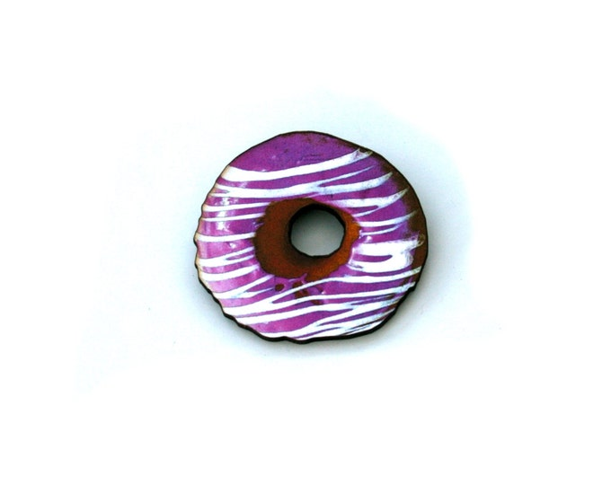 Donut Brooch, Wooden Doughnut Accessory, Pink Iced Donut Illustration, Wood Jewelry