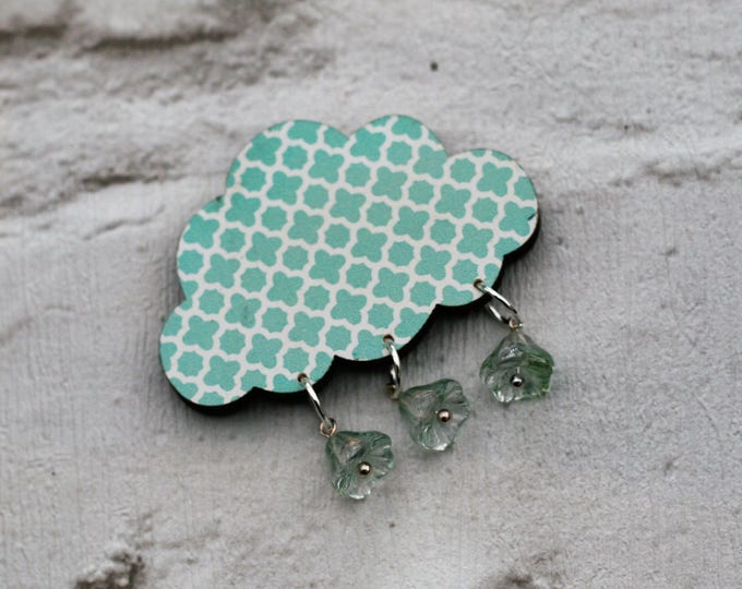 Mint Green Rain Cloud Brooch, Arrow Cloud Pin, Wooden Weather Brooch, Cloud Badge, Wood Jewelry