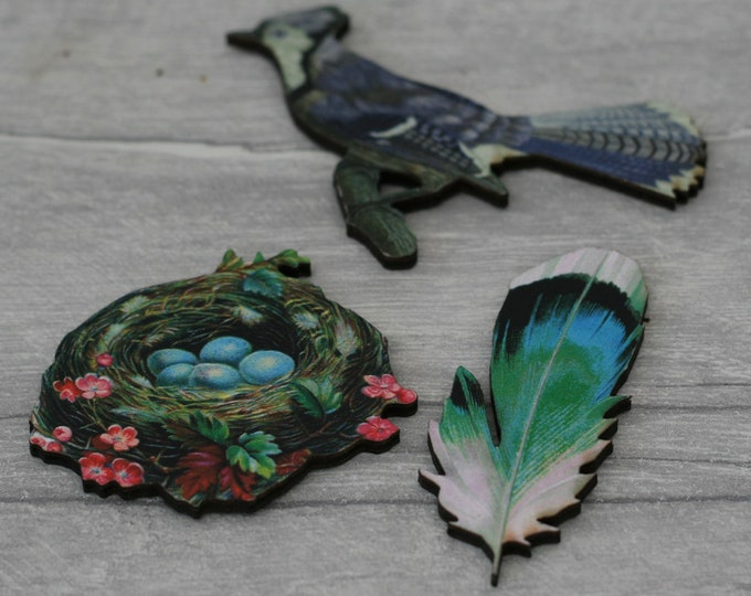 3 x Wooden Brooches - Bluejay, Bird's Nest, Feather