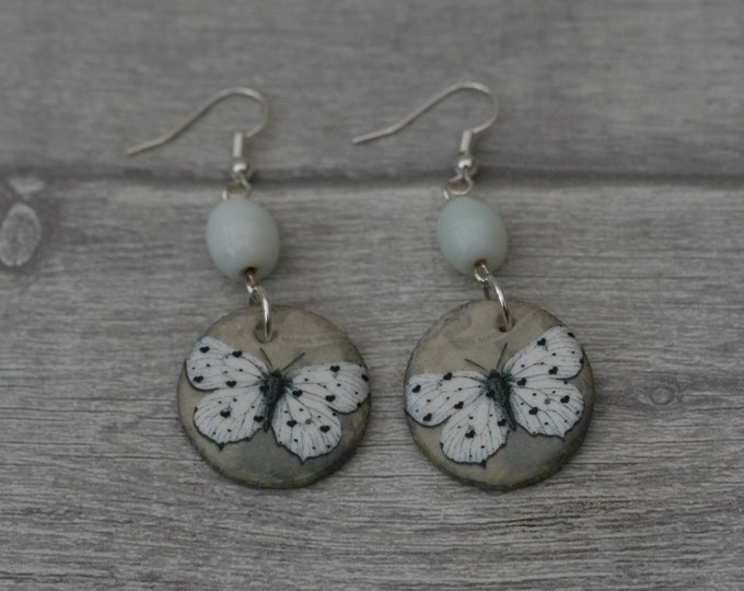 White Butterfly Statement Earrings, Insect Jewelry