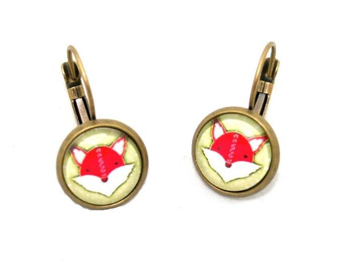 Red Fox Earrings, Illustration Dangle Earrings