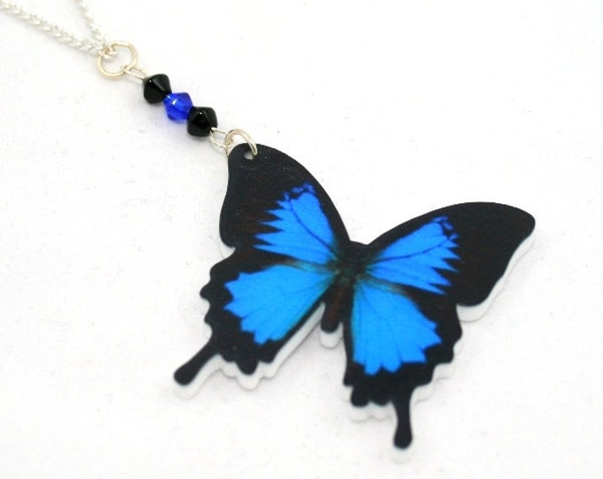 Blue Butterfly Necklace, Acrylic Pendant, Butterfly Illustration, Animal Necklace