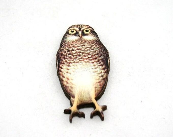 Owl Bird Brooch, Wooden Owl Brooch, Owl Illustration, Woodland, Wood Jewelry, Animal Brooch