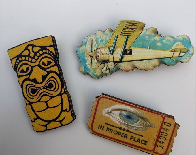 3 x Wooden Brooches - Aeroplane, Ticket (SET A16)