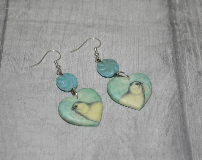 Blue and Yellow Bird Statement Earrings, Animal Jewelry