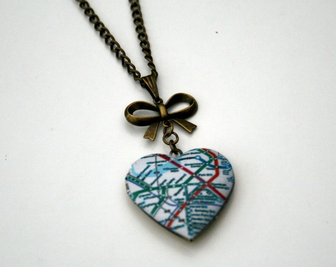Map Locket Necklace, Map Necklace, Heart shaped locket