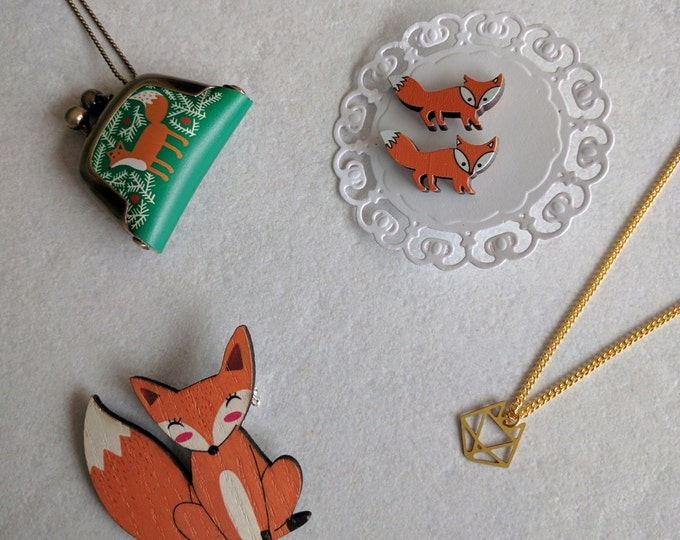 Fox gift set, fox necklace, fox brooch, fox earrings, gift box