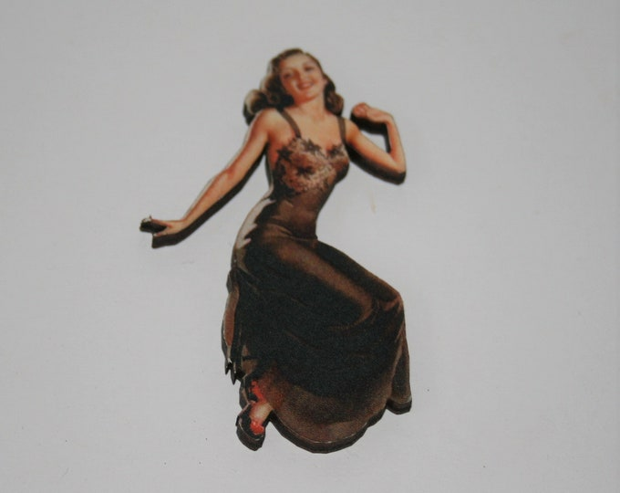 Flapper 1920s Lady Brooch / Badge / Pin, Woman