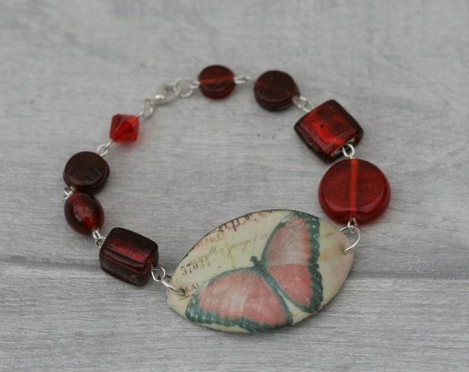 Red Butterfly Bracelet, Butterfly Bracelet, Butterfly Bar Bracelet