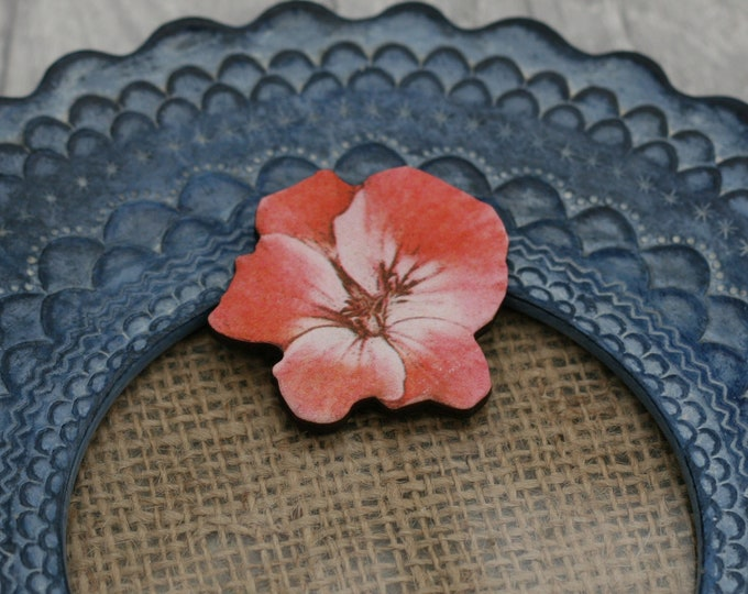 Pink Flower Brooch, Pretty Pansy Badge, Vintage Floral Illustration, Wood Jewelry, Retro Pin