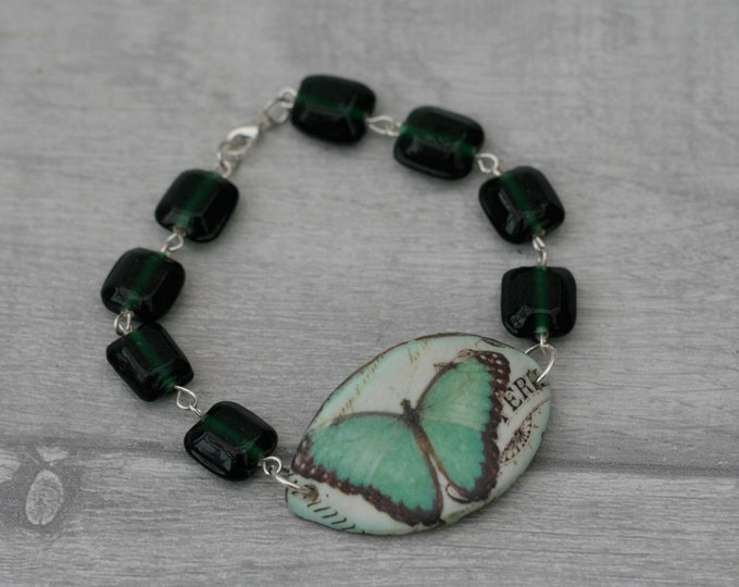 Green Butterfly Bracelet, Butterfly Bracelet, Butterfly Bar Bracelet