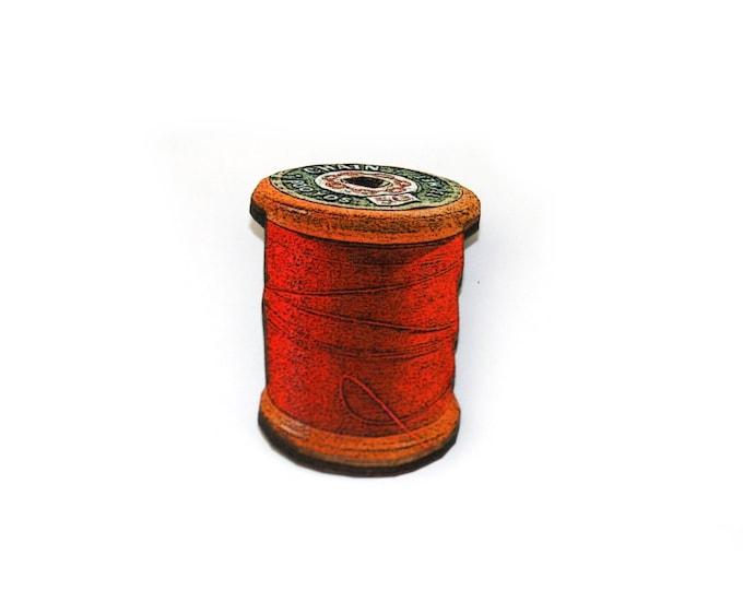Red Cotton Spool Brooch, Wooden Thread Spool Illustration, Wood Jewelry, Bobbin Brooch