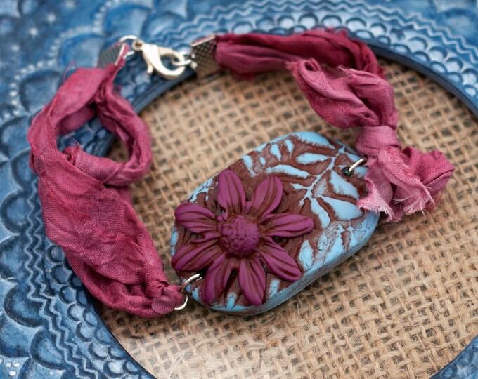 Pink Flower Bracelet, Flower Bracelet, Flower Bar Bracelet